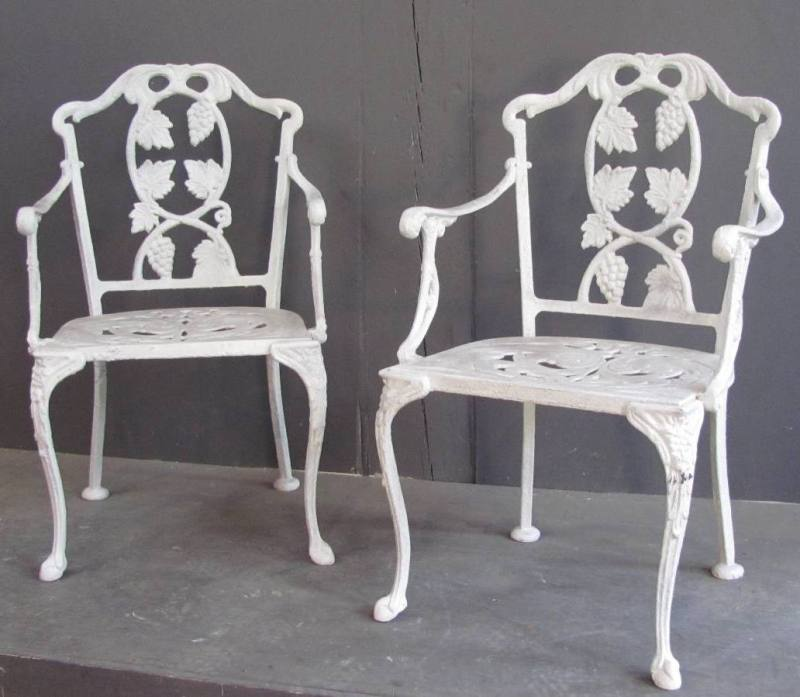 Pair Of 1930u0027s American Cast Iron Chairs